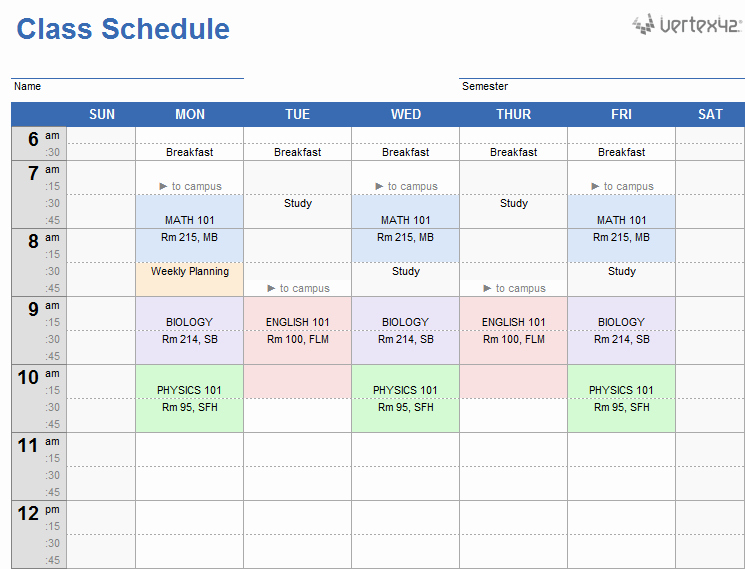Classroom Daily Schedule Template Best Of Weekly Class Schedule Template for Excel