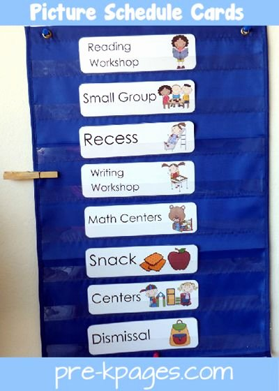 Classroom Daily Schedule Template Elegant Picture Schedule Cards – Blue