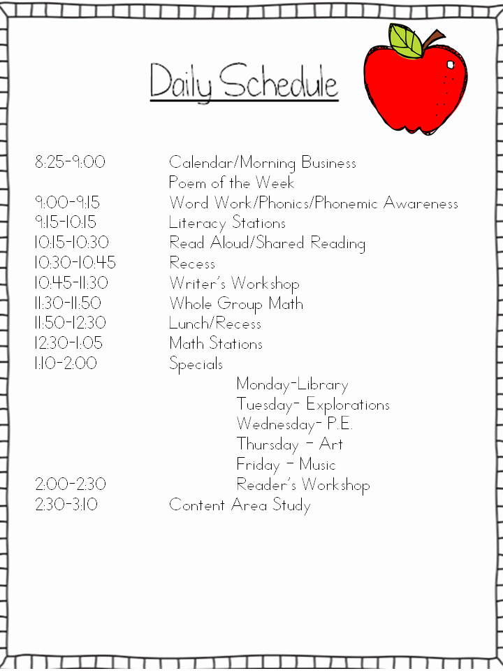 Classroom Daily Schedule Template Inspirational Daily Schedule My Kindergarten Classroom