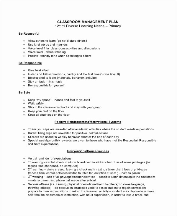 Classroom Management Plan Template Awesome 11 Classroom Management Plan Templates