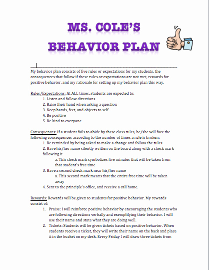 Classroom Management Plan Template Inspirational H4