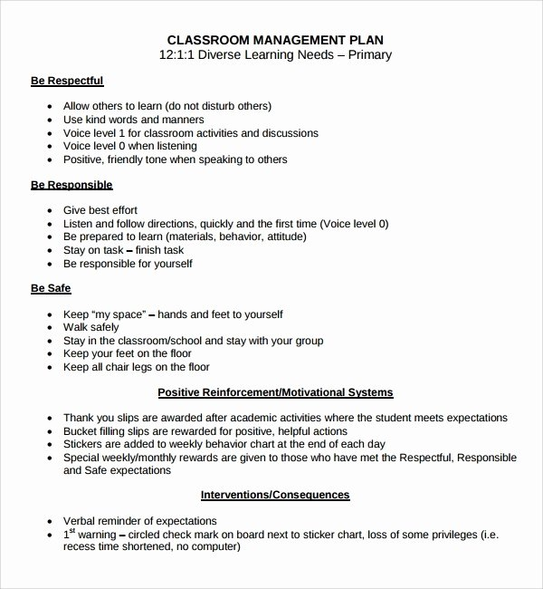 Classroom Management Plan Template Unique Classroom Management Plan Template Beepmunk