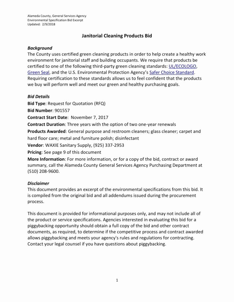Cleaning Bid Proposal Template Awesome 7 Janitorial Services Proposal Templates Pdf