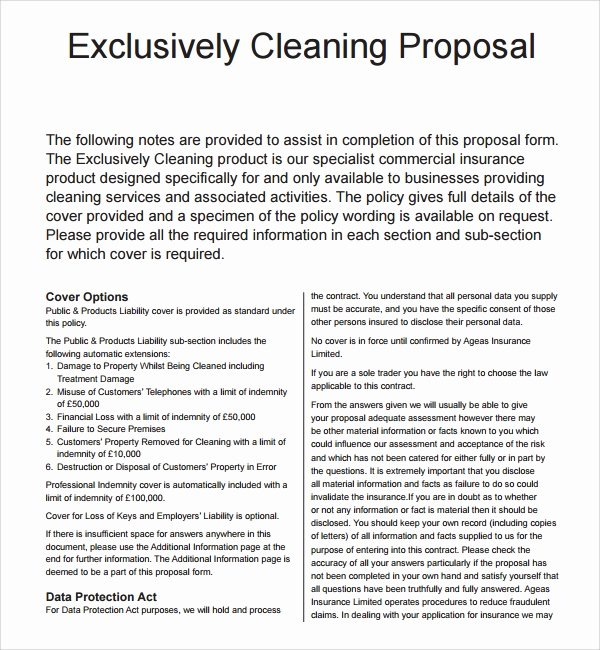 Cleaning Bid Proposal Template Best Of 13 Cleaning Proposal Templates – Pdf Word Apple Pages