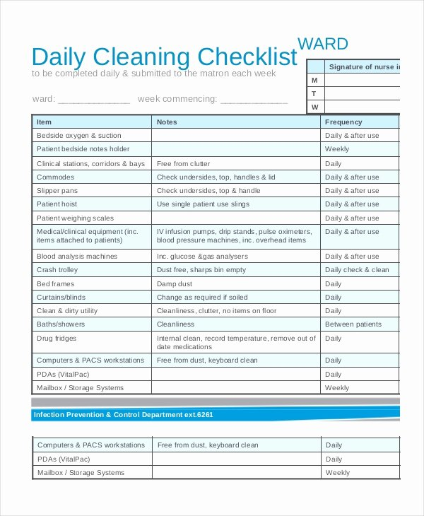 Cleaning Checklist Template Word Beautiful Cleaning Checklist 31 Word Pdf Psd Documents Download