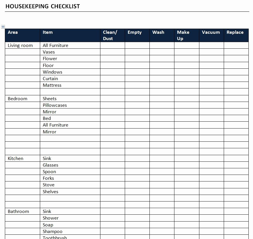 Cleaning Checklist Template Word Elegant Housekeeping Checklist Template