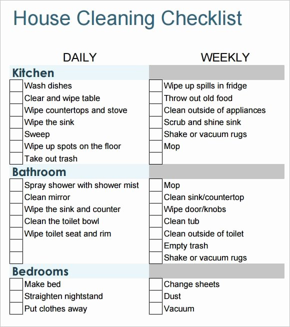 Cleaning Checklist Template Word Fresh 6 Free House Cleaning List Templates Excel Pdf formats