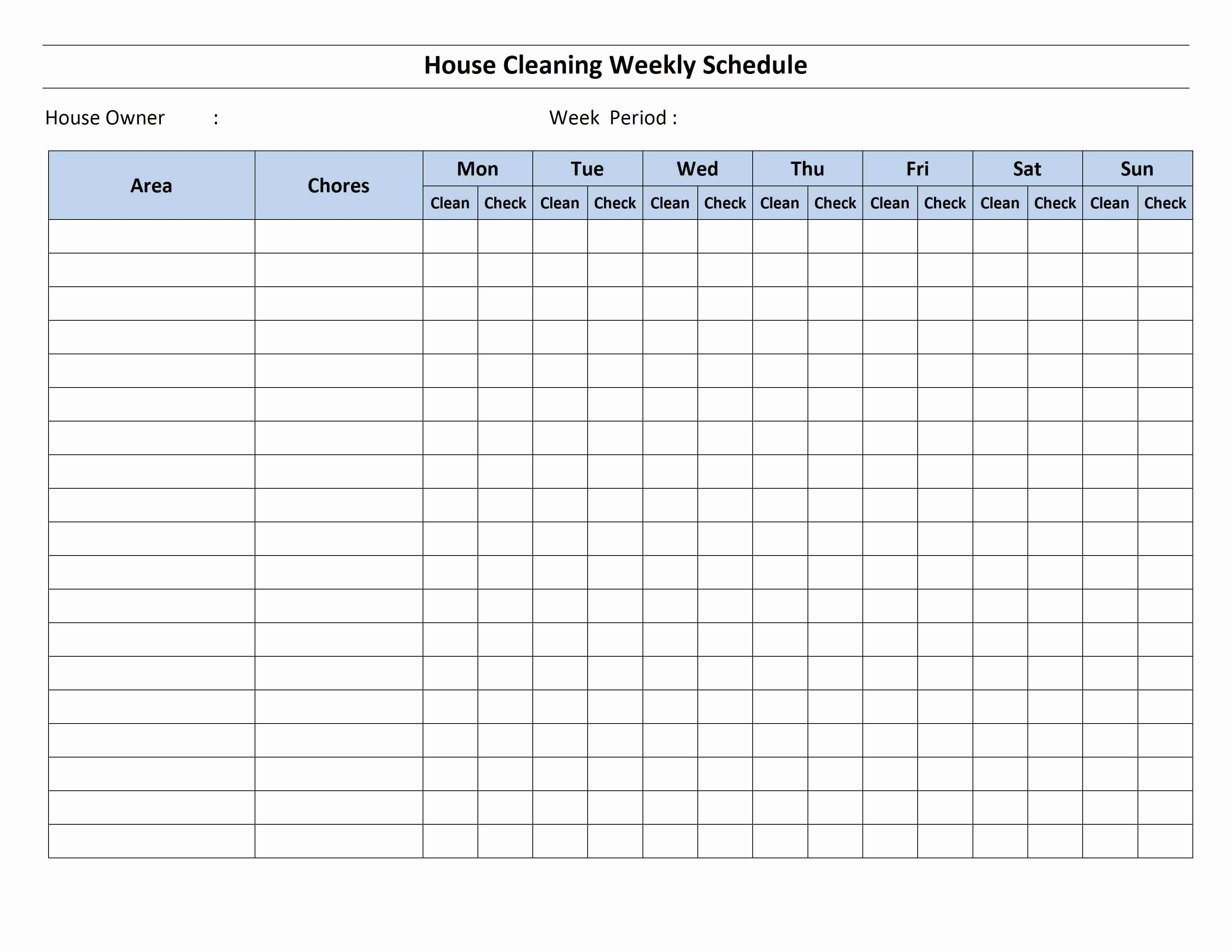 Cleaning Checklist Template Word Fresh Cleaning Schedule Template