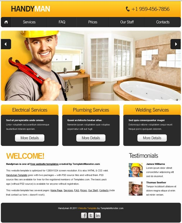 Cleaning Company Website Template Luxury Free Website Template with Slideshow for Maintenance