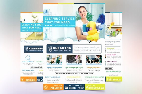 Cleaning Company Website Template New Cleaning Service Flyer Flyer Templates Creative Market