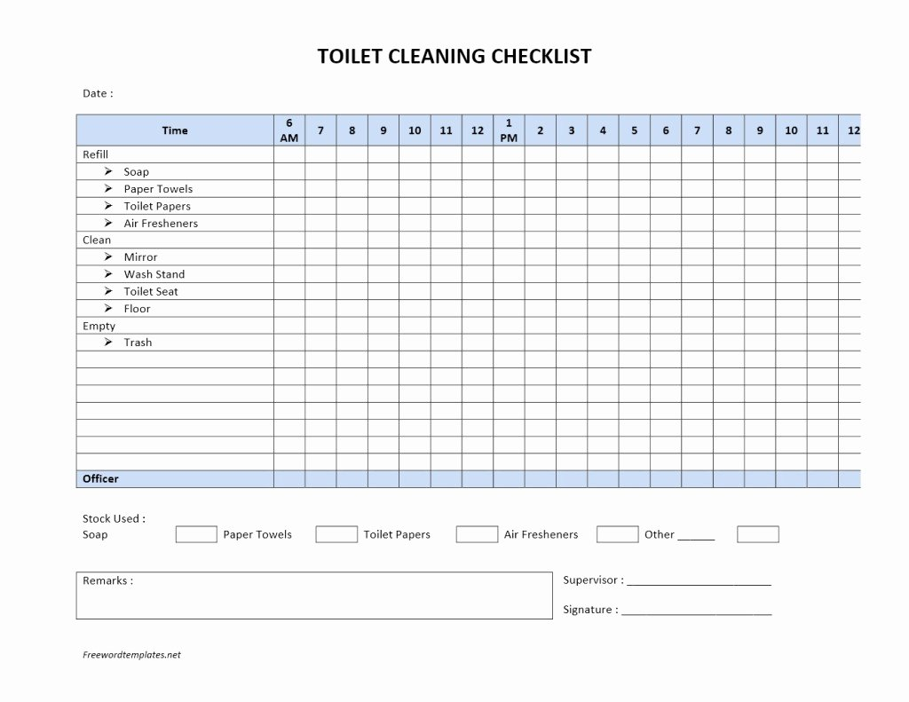 Cleaning Service Checklist Template Unique toilet Cleaning Checklist