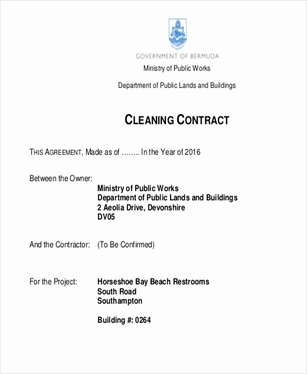Cleaning Service Contract Template Beautiful 15 Cleaning Contract Templates Docs Word