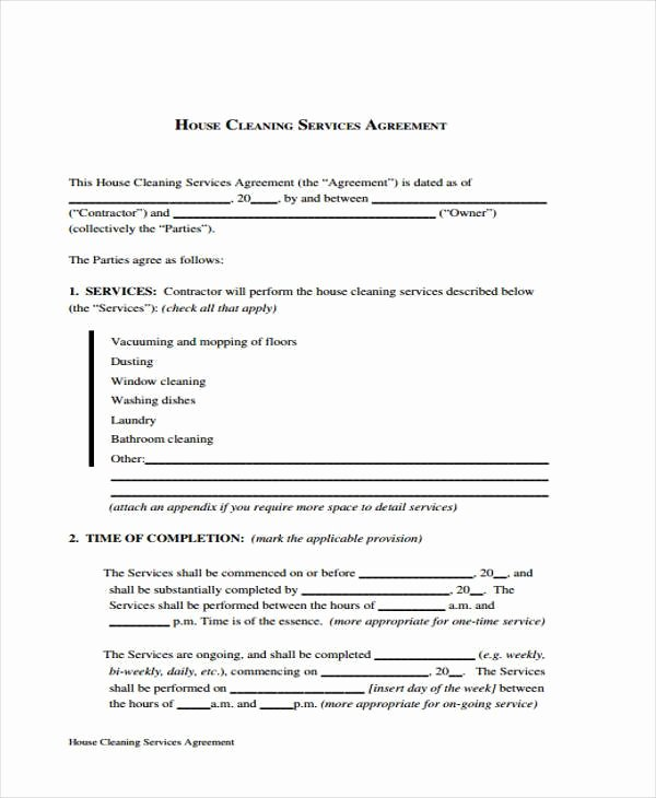 Cleaning Service Contract Template Best Of Sample Cleaning Contract forms 7 Free Documents In Word