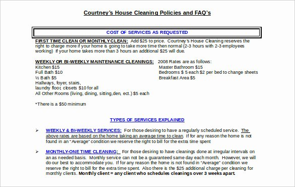 Cleaning Service Contract Template Fresh 22 Cleaning Contract Template Word Docs Pages