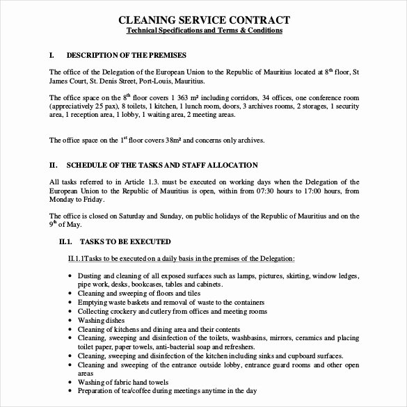 Cleaning Service Contract Template Inspirational 22 Cleaning Contract Template Word Docs Pages