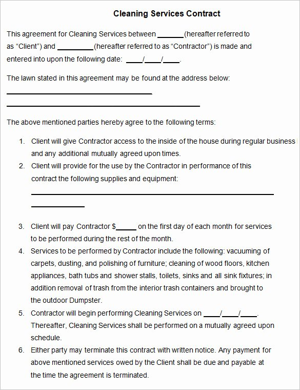 Cleaning Service Contract Template Unique 22 Cleaning Contract Template Word Docs Pages