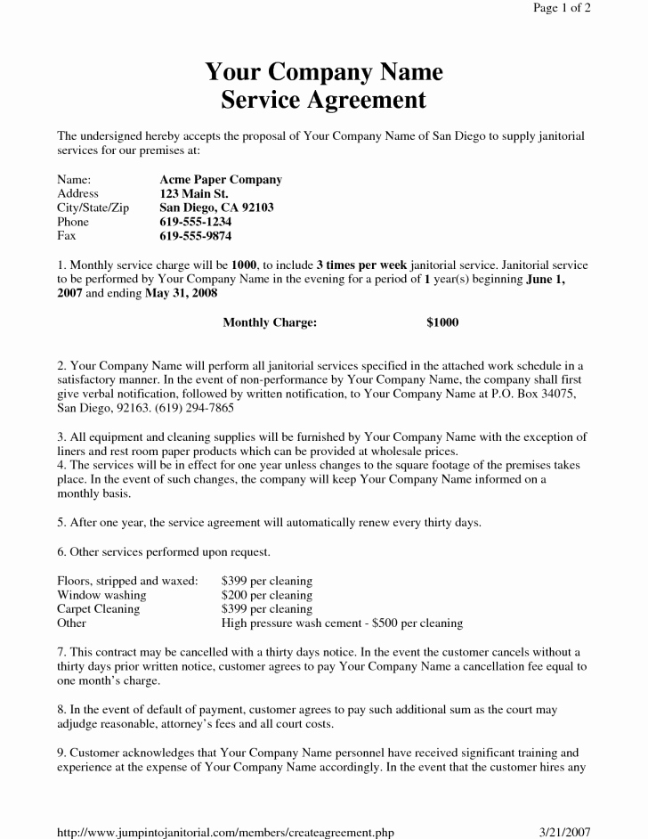 Cleaning Service Contract Template Unique Contract Cleaning Contract Template