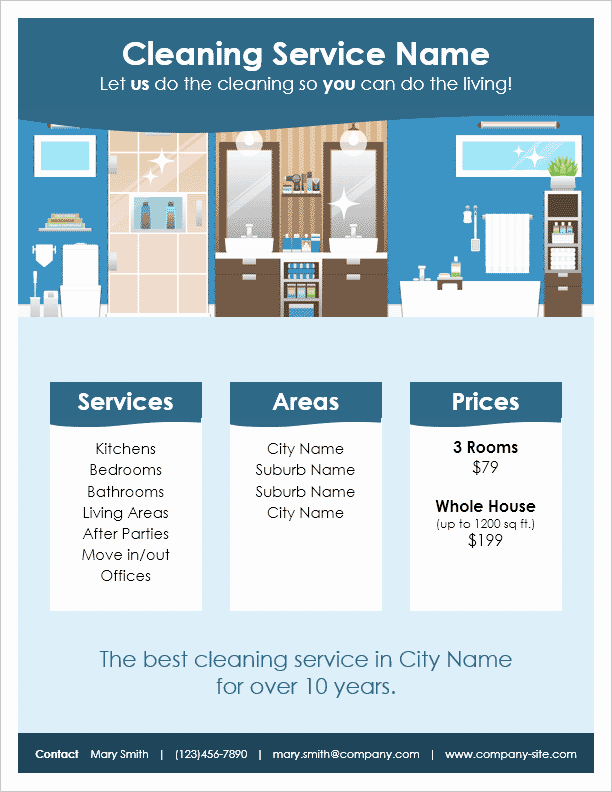 Cleaning Service Flyer Template Unique Cleaning Service Flyer Template by Vertex42