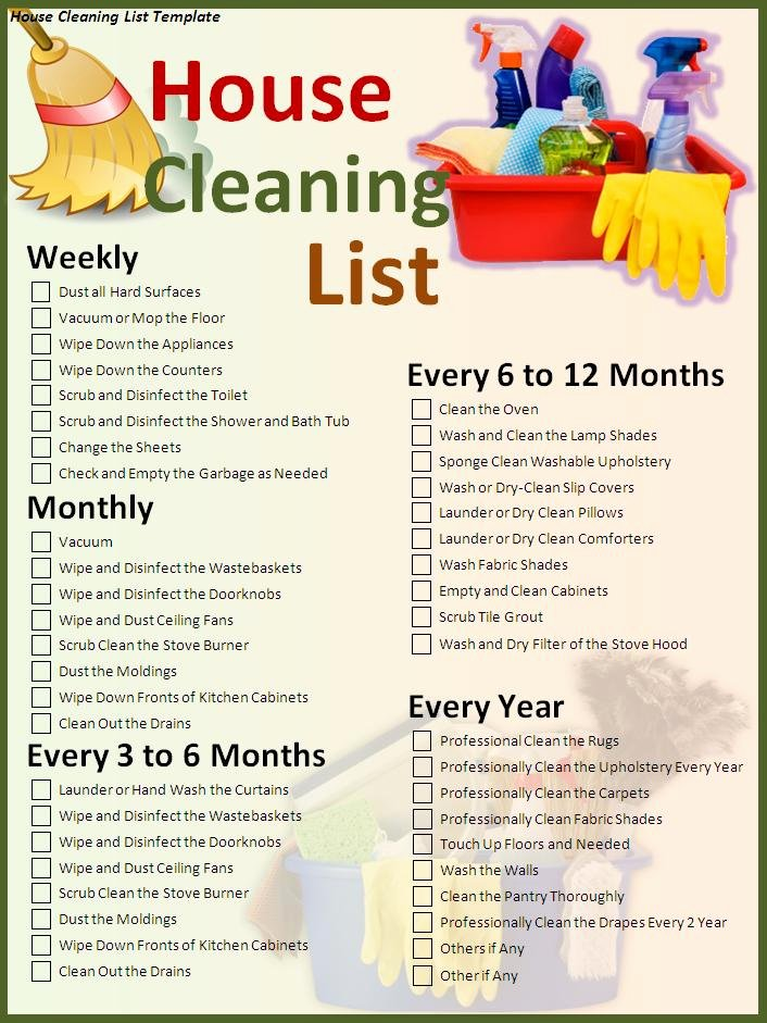 Cleaning Service Template Free Beautiful House Cleaning List Template Free formats Excel Word