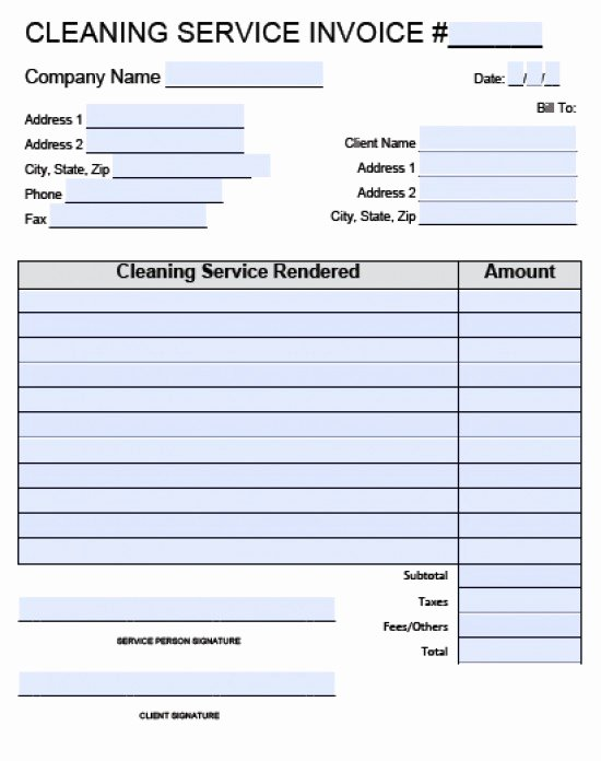 Cleaning Service Template Free Lovely Cleaning Invoice Template Word