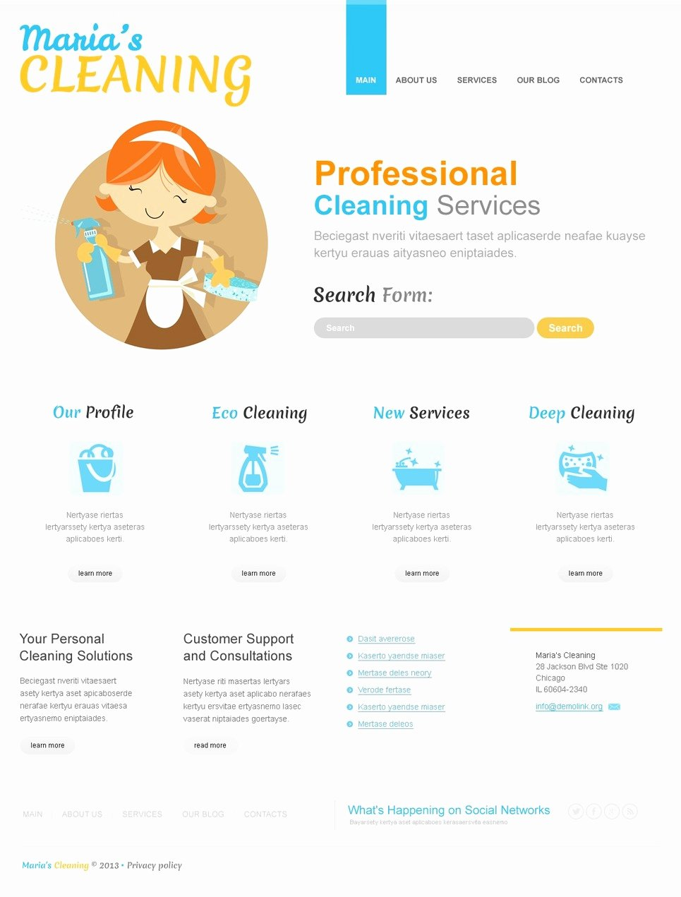 Cleaning Service Template Free Unique toon Cleaning Joomla Template
