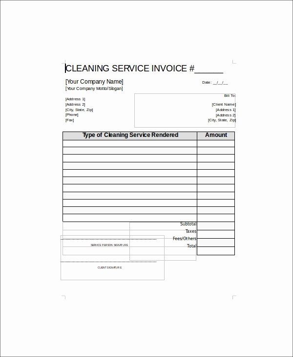 Cleaning Services Invoice Template Best Of 5 Sample Cleaning Service Receipts