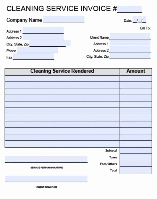 Cleaning Services Invoice Template Elegant Free House Cleaning Service Invoice Template Excel