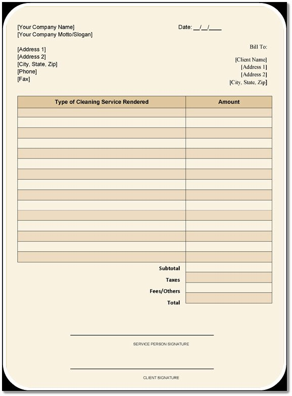 cleaning services invoice