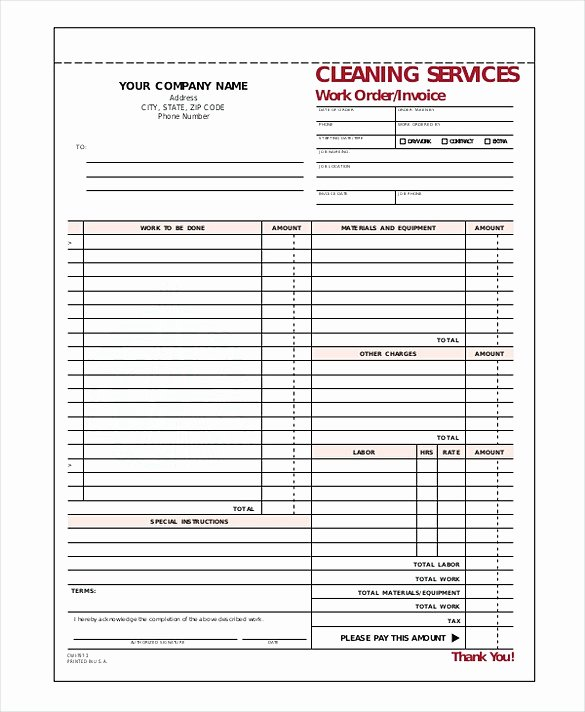Cleaning Services Invoice Template Luxury Cleaning Service Invoice