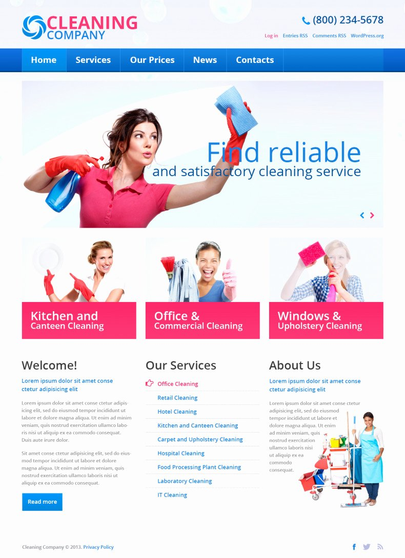 Cleaning Services Website Template Luxury Cleaning Pany Free Wordpress theme
