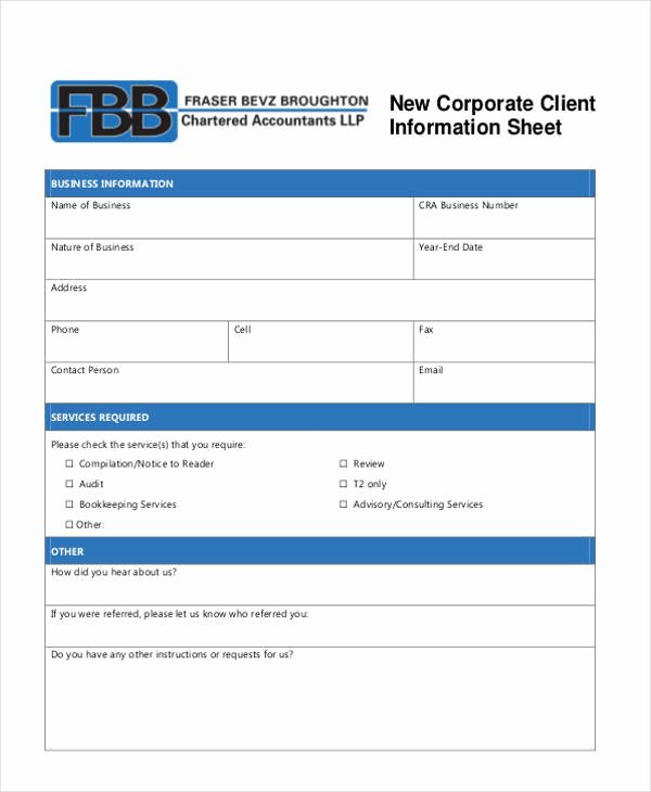 Client Information form Template Best Of 9 Client Information Sheet Templates Free Samples