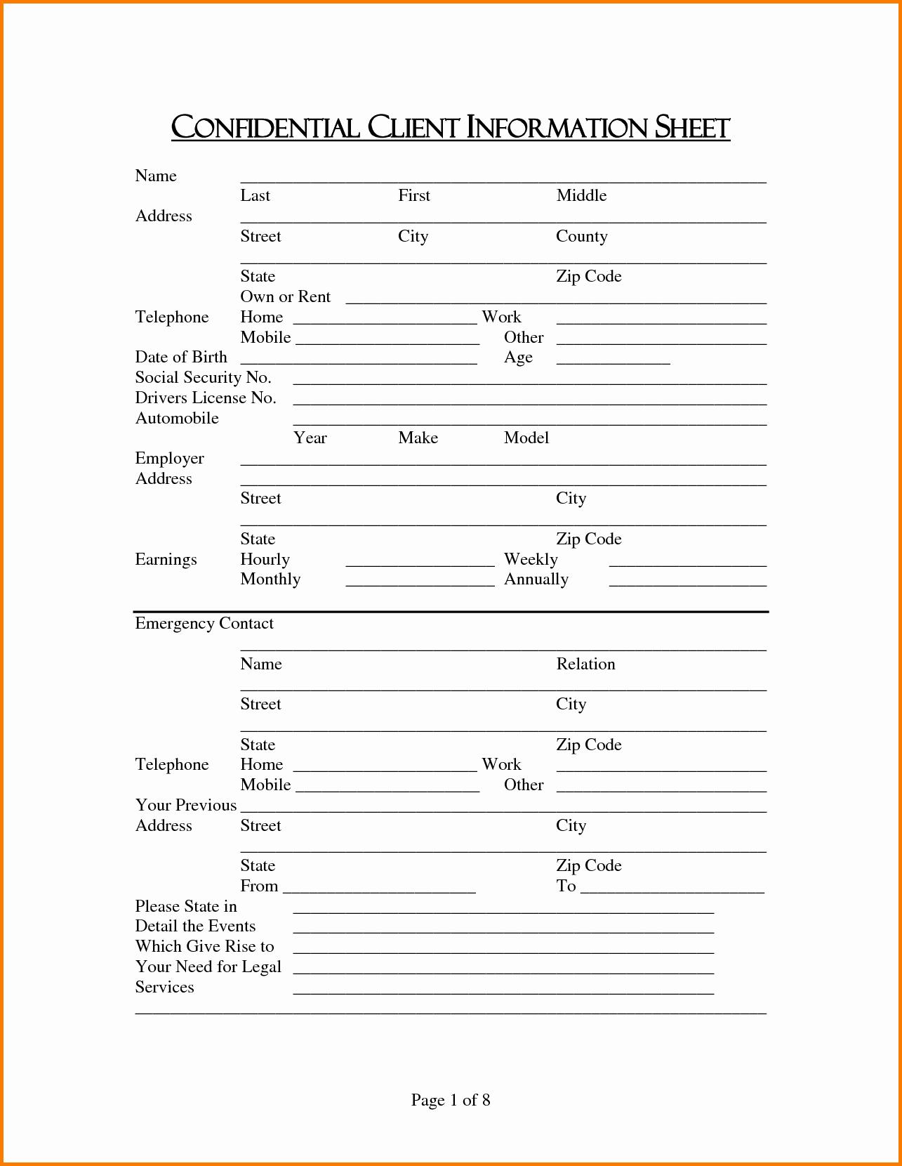 Client Information form Template Elegant Client Information Sheet