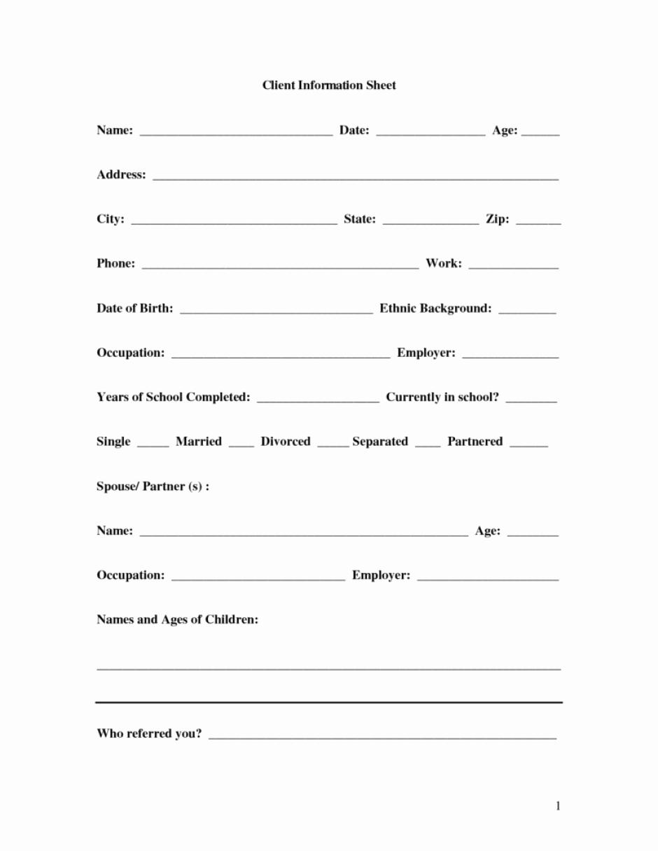 client information sheet templates