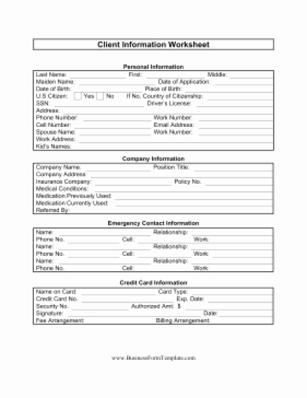 Client Information Sheet Template Unique 5 Free Client Information Sheet Templates Word Excel