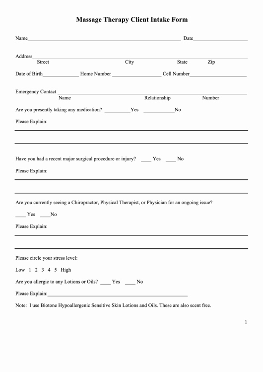Client Intake form Template New Massage therapy Client Intake form Printable Pdf