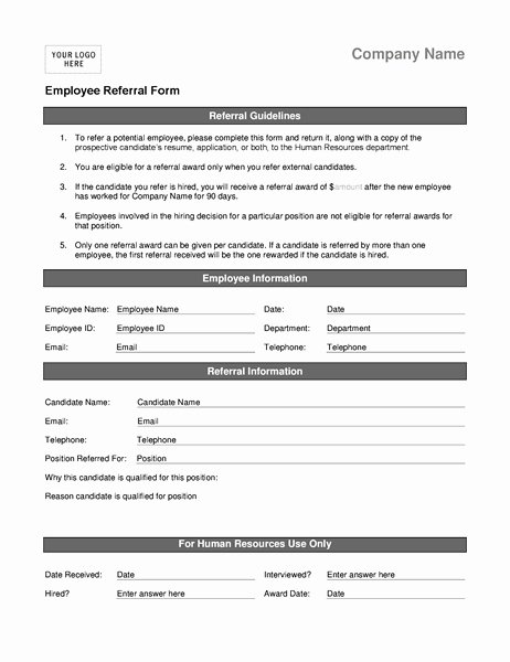 Client Referral form Template Elegant Employee Referral forms
