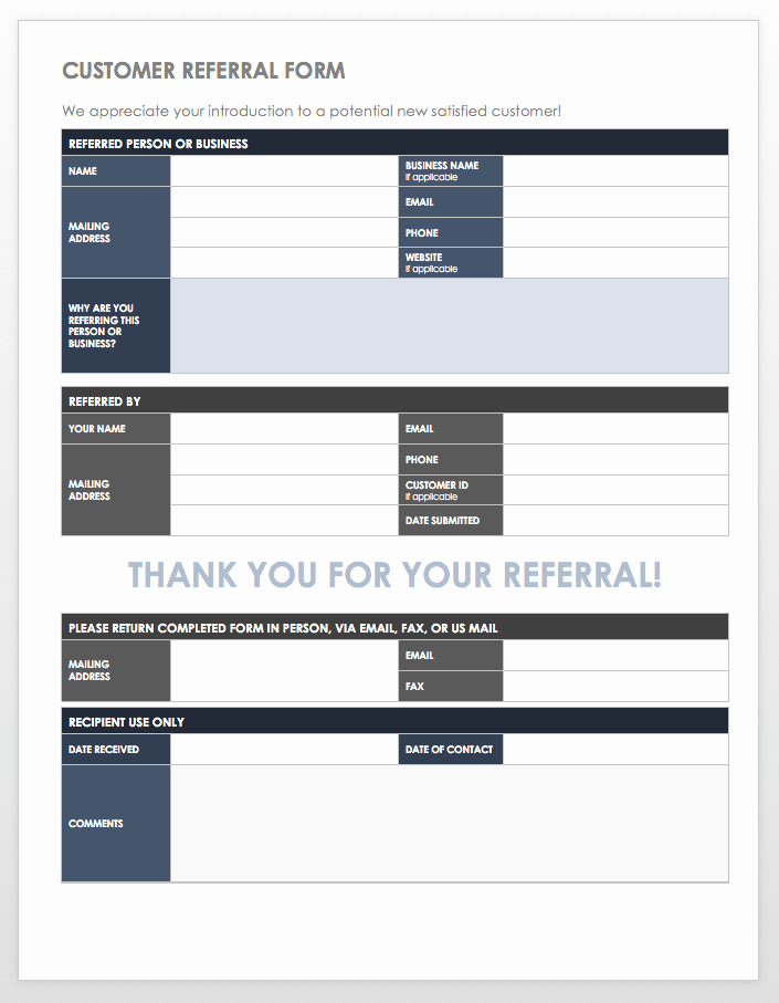 Client Referral form Template Lovely 10 Free Referral Templates