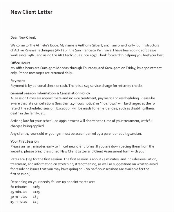 Client Termination Letter Template Lovely 9 Client Letter Templates Free Sample Example format