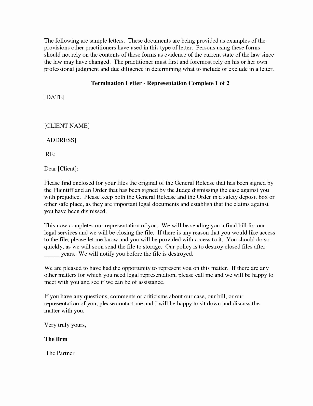 Client Termination Letter Template Luxury Sample attorney withdrawal Letter to Client