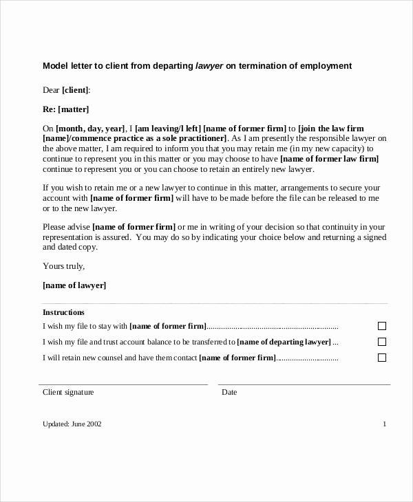 Client Termination Letter Template Unique 38 Sample Termination Letters