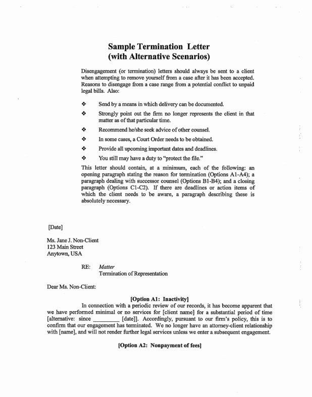 Client Termination Letter Template Unique Sample attorney withdrawal Letter to Client