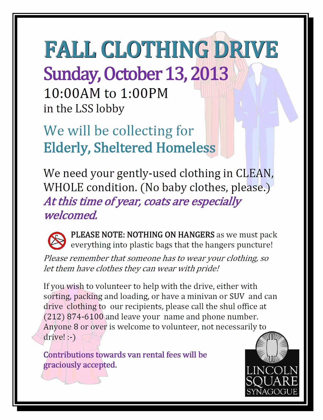 Clothing Drive Flyer Template Inspirational Fall Clothing Drive event Lincoln Square Synagogue