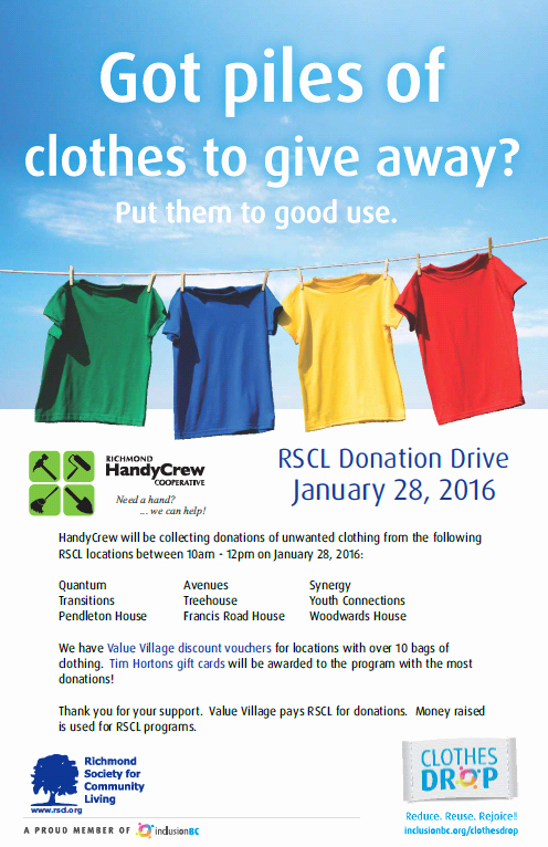 Clothing Drive Flyer Template New Handycrew Clothing Donation Drive Richmond society for
