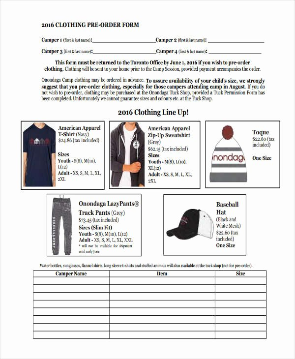 Clothing order form Template Best Of 9 Clothing order forms Free Samples Examples format
