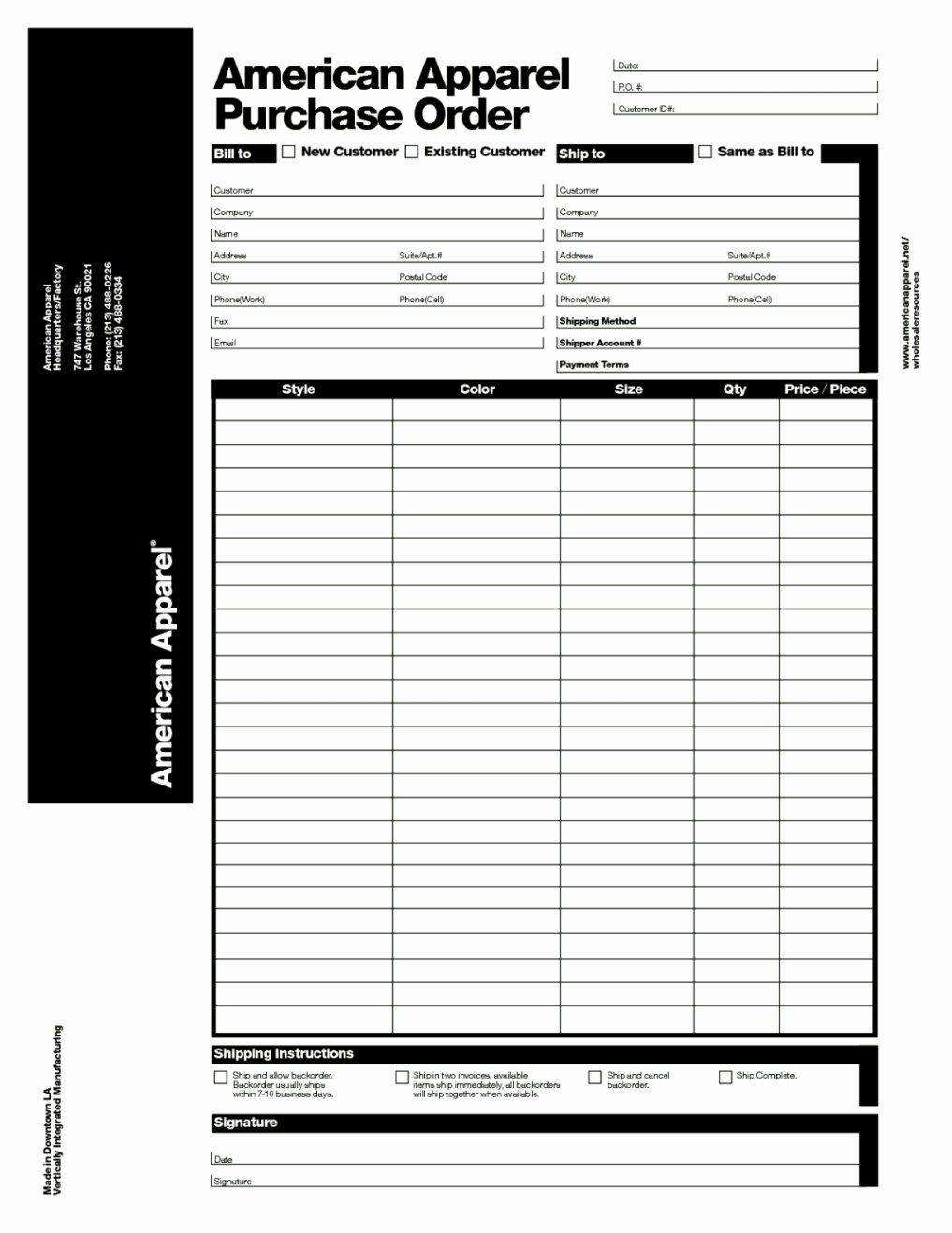 Clothing order form Template Elegant Apparel Purchase order form Template Template Update234
