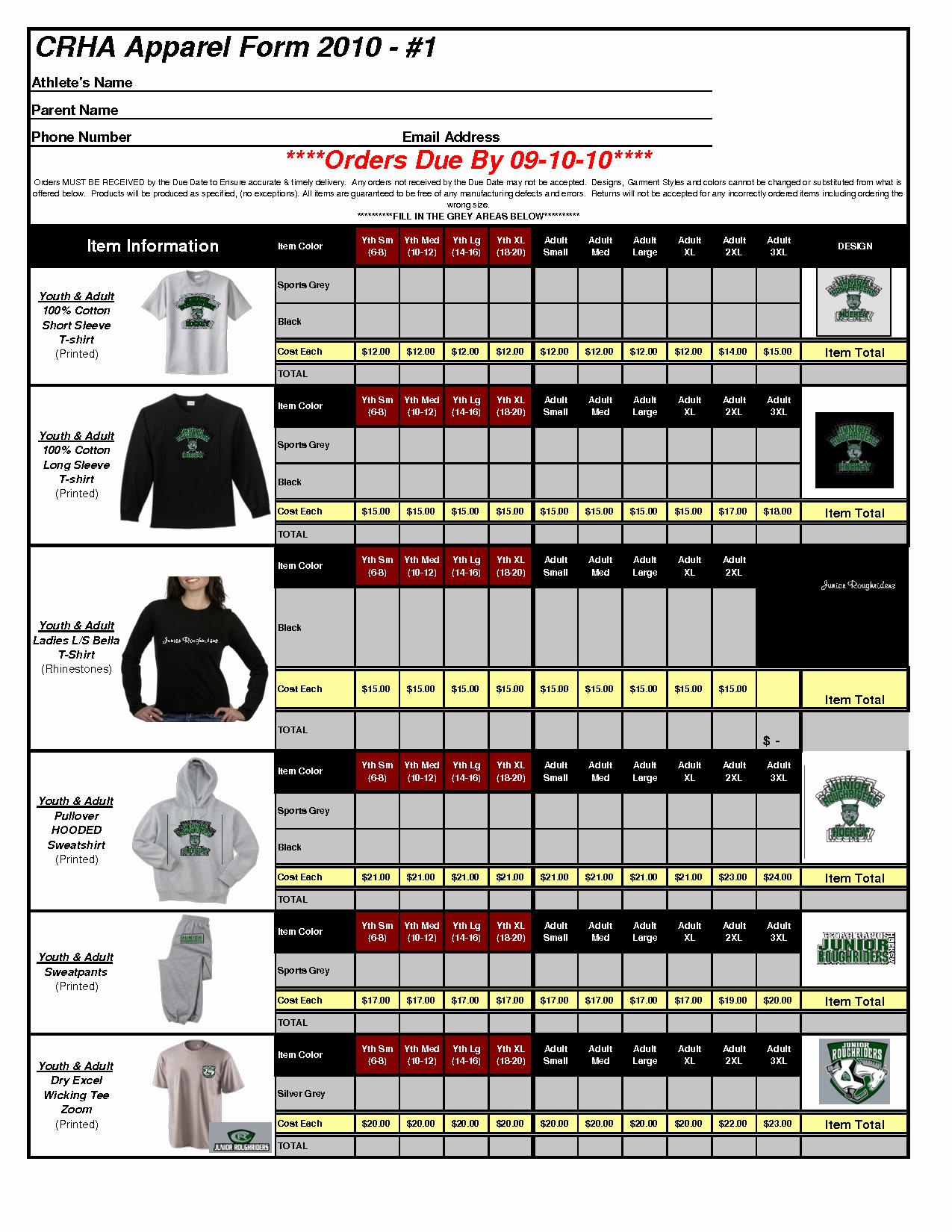 Clothing order form Template Elegant Best S Of Apparel order form Template T Shirt order