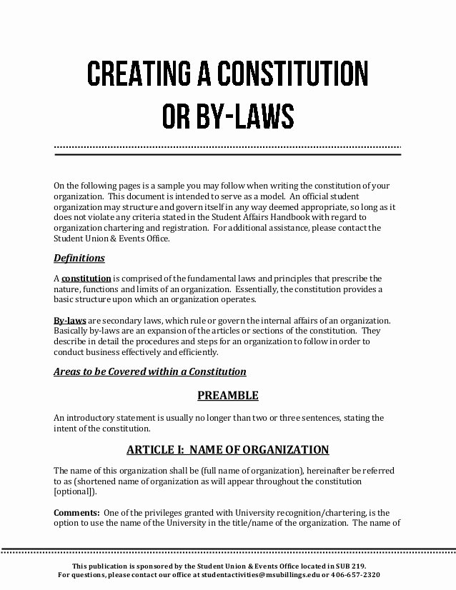 Club by Laws Template Inspirational Creating A Constitution or by Laws