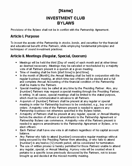 Club by Laws Template Luxury Investment Club bylaws Fice Templates
