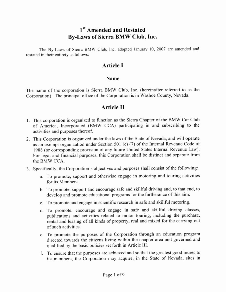 Club by Laws Template New bylaws – Sierra Chapter Bmw Cca