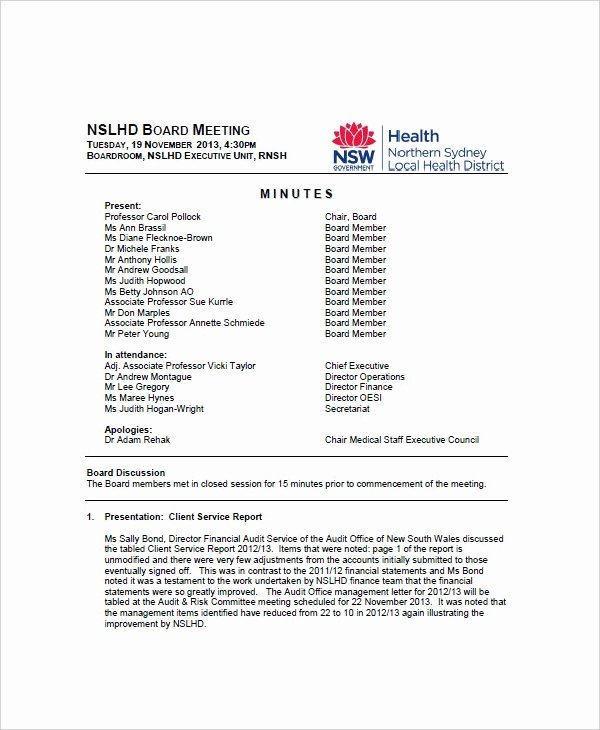 Club Meeting Minutes Template Awesome 13 Meeting Minute Templates Free Sample Example